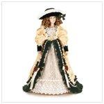 Porcelain Doll in Velvet and Ivory Dress 37100