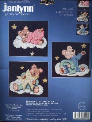 "Janlynn 167-0200 ""Bedtime Bear Trio"" Counted Cross Stitch Kit"