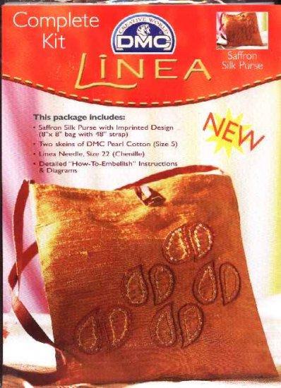 """Linea Embroidered Saffron Silk Purse Kit 8"""" x 8"""" Bag Evening Purse"""
