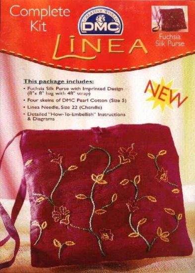 Linea Complete Kit 'Fuchsia Silk Purse' Embroidered Bag DMC Creative World