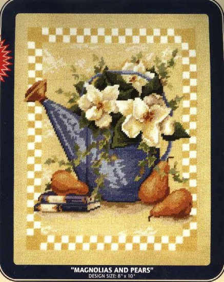 "DMC Needlepoint Canvas Pattern ""Magnolias and Pears"" Pearl cotton Tapestry wool embroidery floss"