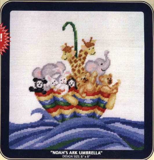 "DMC Needlepoint Canvas Pattern ""Noah's Ark Umbrella"" Pearl cotton Tapestry wool embroidery floss"