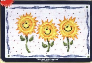 "DMC Needlepoint Canvas Pattern ""Smiling Sunflowers"" Pearl cotton Tapestry wool embroidery floss"