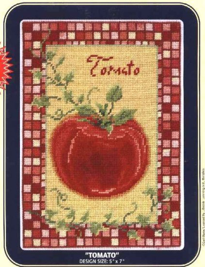 """DMC Needlepoint Canvas Pattern """"Tomato"""" Pearl cotton Tapestry wool embroidery floss"""