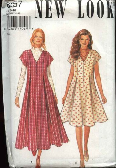 New Look Sewing Pattern 6257 Misses Size 6-16 Pleated Front Back Ties Dress Jumper