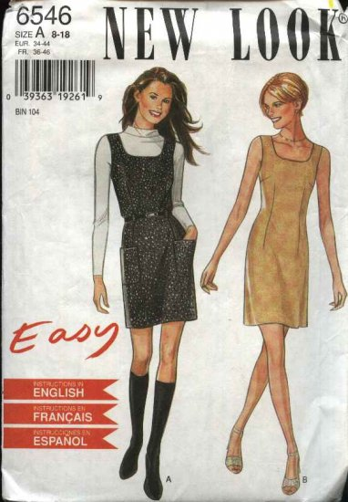 New Look Sewing Pattern 6546 Size 8-18 Easy Straight Dress Jumper