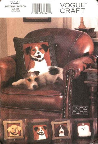 Vogue Sewing Pattern 7441 Linda Carr �Dog� Theme Pillows Cushions