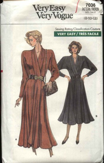 Vogue Sewing Pattern 7036 Misses Size 8-10-12 Easy Wrap Dresses