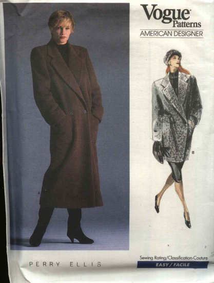 Vogue Sewing Pattern 1935 Misses Size 10 Perry Ellis Winter Coat 2 Lengths