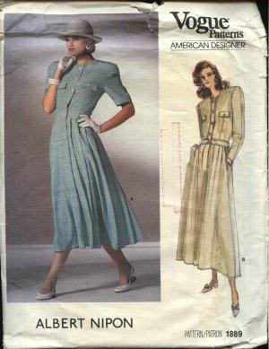 Vogue Sewing Pattern 1889 Misses Size 12 Albert Nipon Dress