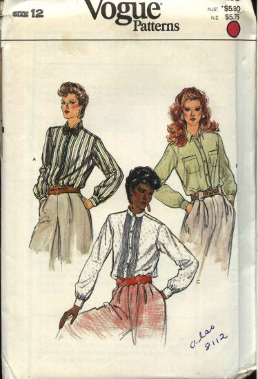 Vogue Sewing Pattern 8377 Misses Size 12 Long Sleeved Shirts Blouses