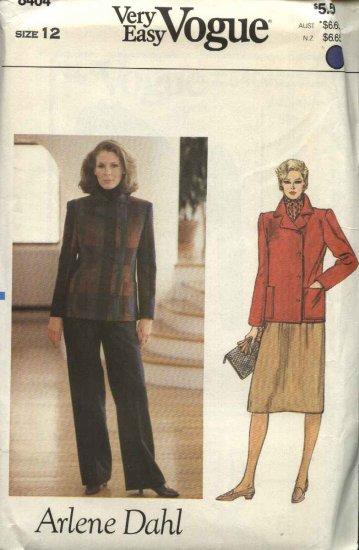 Vogue Sewing Pattern 8404 Misses Size 12 Easy Arlene Dahl Jacket Skirt Pants