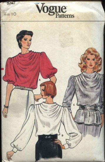Vogue Sewing Pattern 8747 Misses Size 10 Pullover Blouse Top