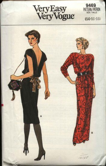 Retro Vogue Sewing Pattern 9469 Misses Size 14-16-18 Easy Dress Evening Gown Formal