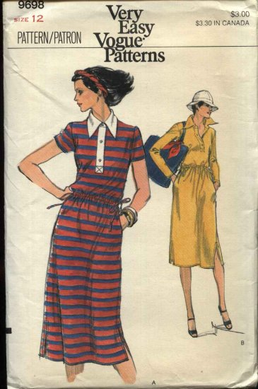 Vogue Sewing Pattern 9698 Misses Size 12 Easy Pullover Dress