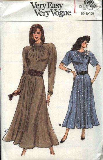 Vogue Sewing Pattern 9960 Misses Size 6-8-10 Easy Dress