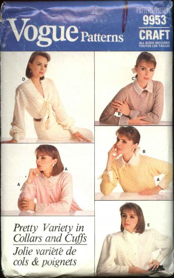 Vogue Sewing Pattern 9953 Misses All Sizes 6-22 Collars Cuffs Bows Scarf