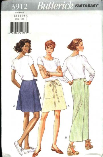 Butterick Sewing Pattern 3912 Misses Size 12-14-16 Easy Long Short Back Wrap Straight A-Line Skirt