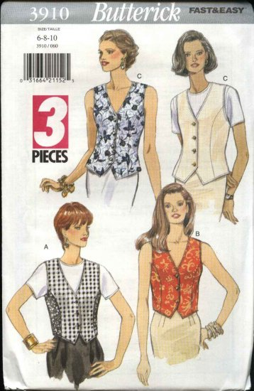 Butterick Sewing Pattern 3910 Misses Size 6-8-10 Easy Button Front Princess Seam Vest Top