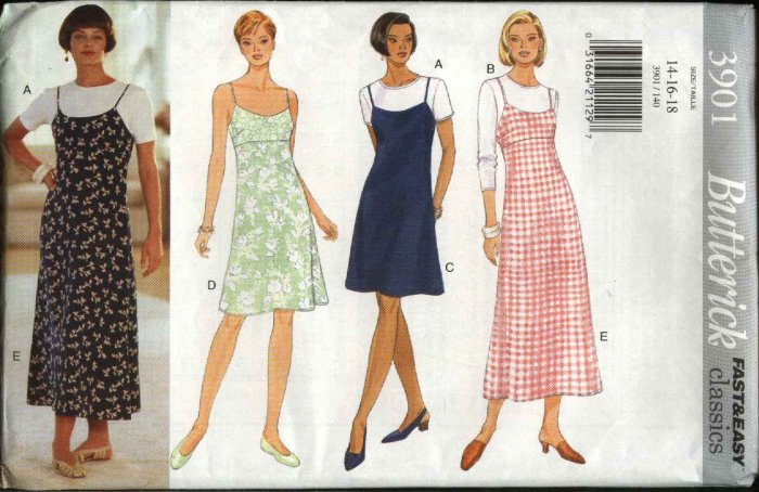 Butterick Sewing Pattern 3901 Misses Size 14-16-18 Easy Empire Raised Waist Dress Jumper Knit Top