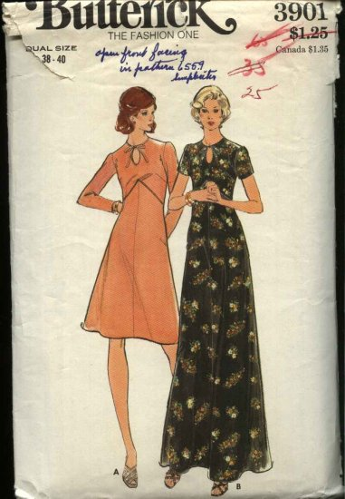 Retro Butterick Sewing Pattern 3901 Women�s Size 20W-22W  (38-40) Long Short Raised Waist Dress