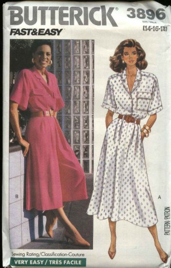 Butterick Sewing Pattern 3896 Misses Size 14-18 Easy Button Front Top Flared Skirt Culottes Gauchos