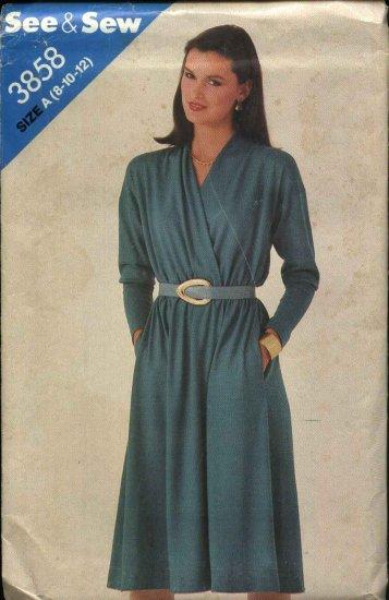 Butterick Sewing Pattern 3858 Misses Size 8-10-12 Easy Mock Wrap Long Sleeve Dress