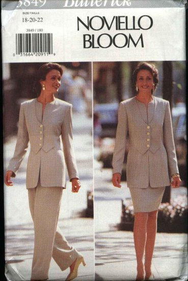 ButterickSewing Pattern 3849 Misses Size 18-22 Noviello Bloom Jacket Straight Skirt Pants Suit