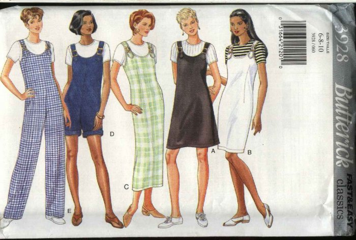 Butterick Sewing Pattern 3928 Misses Size 18-22 Easy Classic Straight Jumpers Jumpsuit Knit Top