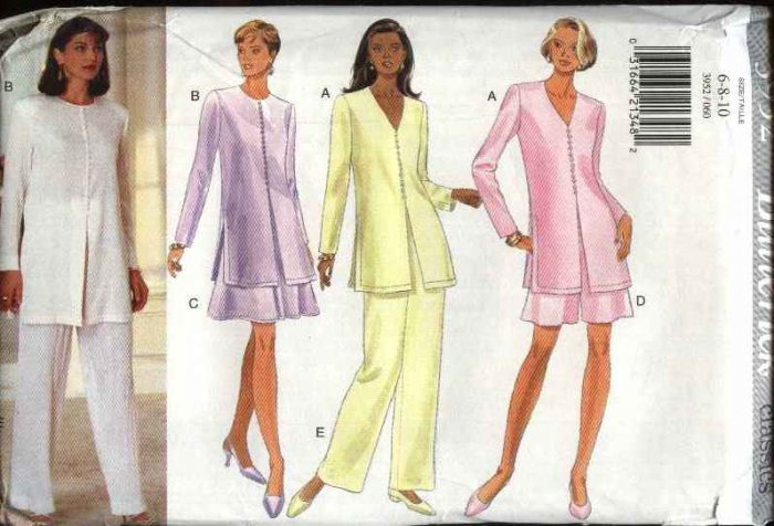 Butterick Sewing Pattern 3952 Misses Size 6-8-10 Easy Classics Tunic Flared Skirt Shorts Pants