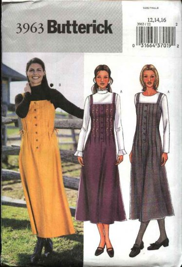 Butterick Sewing Pattern 3963 Misses Size 12-14-16 Easy Tucked Front Jumper