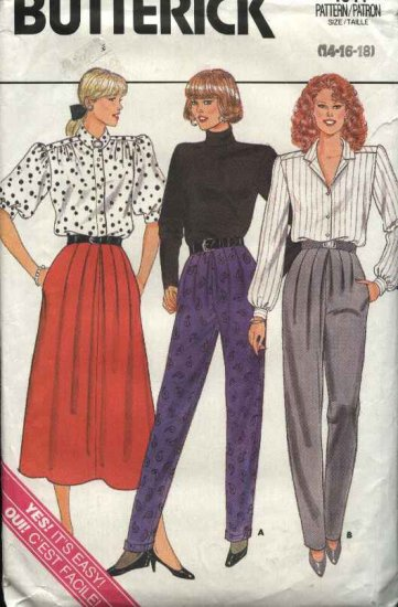 Retro Butterick Sewing Pattern 4041 Misses Size 14-18 Easy Front Pleated Skirt Pants