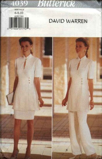 Butterick Sewing Pattern 4039 Misses Size 6-10 David Warren Easy Tunic Skirt Pants