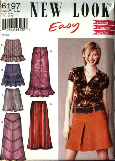 New Look Pattern 6197 Size 8-18 Misses� Easy Skirts