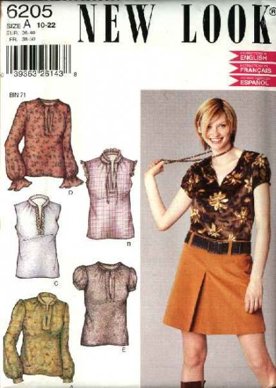 New Look Sewing Pattern 6205 Misses Size 10-22 Pullover Tops Sleeve Options