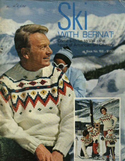 Ski With Bernat #166 Sweater Knitting Booklet Eddie Albert Woman Man Child's