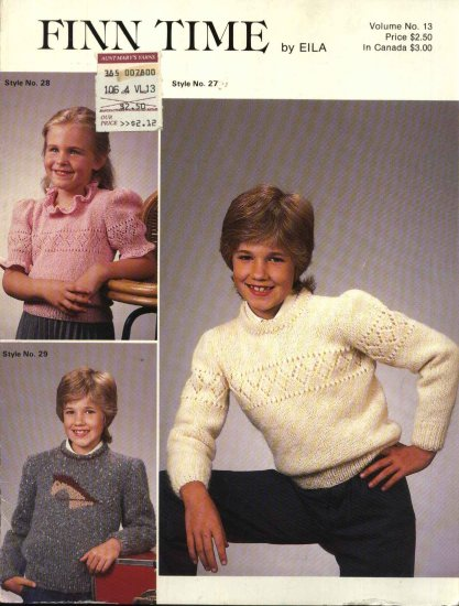 Finn time by Eila #13 Three Children�s Knitted Sweaters Patterns