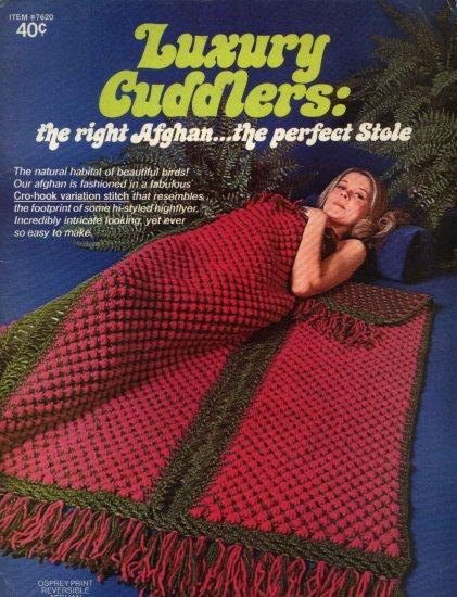 Luxury Cuddlers #7620 Cro-Hook Afghan Stole Boye Needle