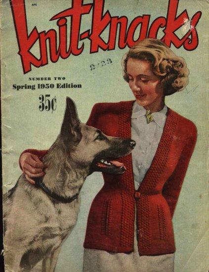 Vintage Knitknacks 1950 Knitting Crochet Booklet Sweaters Dresses Doilies