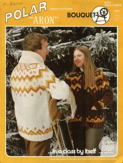 Polar Bouquet �Aron� Cardigan Sweater Pattern Adults Mens Misses