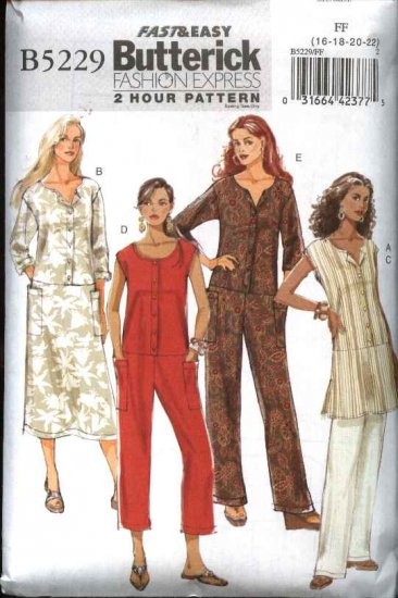 Butterick Sewing Pattern 5229 Misses Size 16-18-20-22 Easy Tunic Dress Pants Jumpsuit