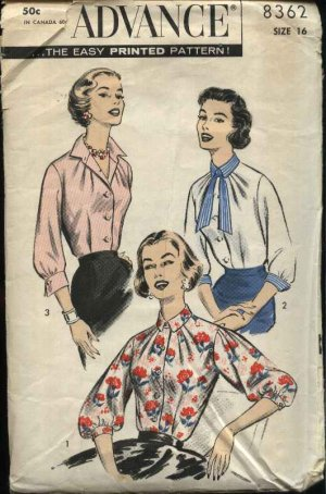 Vintage 1957 Advance Sewing Pattern 8362 Misses Size 16 Button Front Blouse with Tie Shirt Top