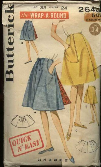 Vintage Butterick Sewing Pattern 2643 Hip 33 Waist 24 USED Easy Front Back Wrap Skirt