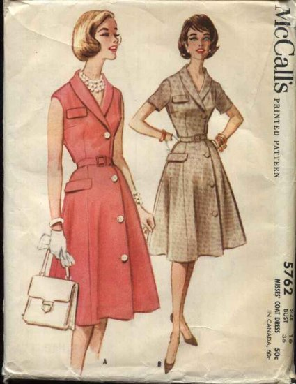 Vintage 1961 McCall�s Pattern 5762 Size 16 Misses Button Front Shirtwaist Dress