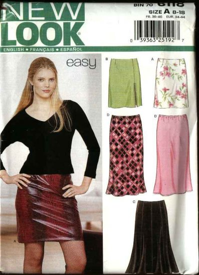 New Look Sewing Pattern 6118 Misses Size 8-18 Easy Straight Gored Bias Skirts Two Lengths