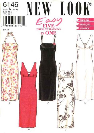 New Look Sewing Pattern 6146 Misses Size 6-16 Easy Long Halter Sleeveless Summer Dresses