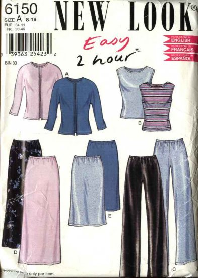 New Look Sewing Pattern 6150 Misses Size 8-18 Easy Wardrobe Top Pants Skirts Jacket