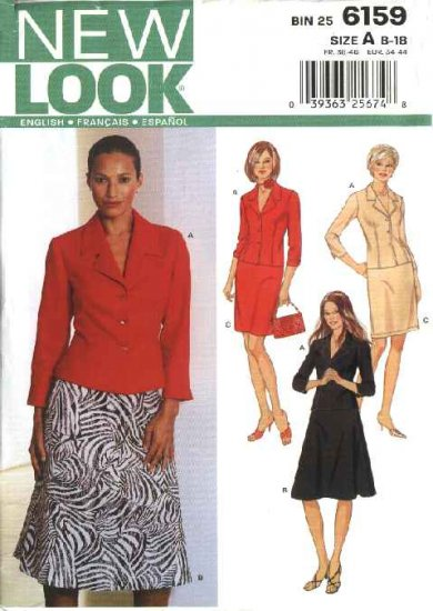 New Look Sewing Pattern 6159 Misses Size 8-18 Jacket Flared Straight Skirts Suit