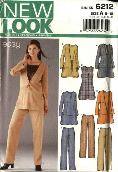 New Look Sewing Pattern 6212 Misses Size 8-18 Easy  Sleeve Trim Options Tunic Long Pants