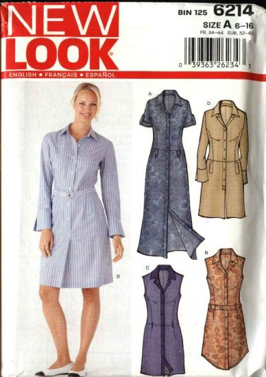 New Look Sewing Pattern 6214 Misses Size 6-16 Button Front Dresses Shirtwaist